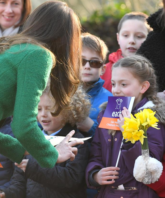 One lucky girl got to present the Duchess with her artwork...