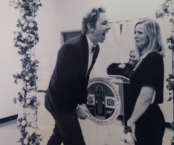"""If this isn't couple goals, then we don't know what is! Kristen Bell has shared a hilarious memory from her low-key wedding to Dax Shepard. """"#TBT to when I cried at our wedding and @daxshepard thought it was really funny,"""" she penned. **WATCH: The couple's humorous antics in the next slide!**"""