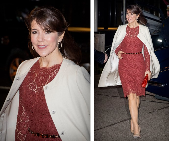 The brunette steps out in a ruby coloured Dolce & Gabbana lace dress on a [date night](http://www.nowtolove.com.au/royals/international-royals/princess-mary-and-prince-frederik-date-night-33640) with her husband.