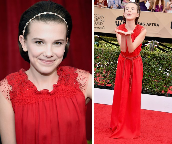 *Stranger Things* star Millie Bobby Brown blows her adoring fans some kisses.