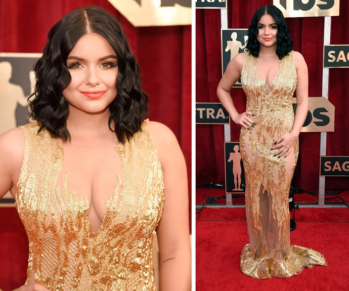 *Modern Family* star Ariel Winter, who recently celebrated her 19th birthday, oozed elegance in this sheer-paneled gold dress.