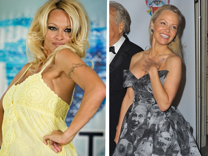 Left: Pamela in 2008 before entering the Big Brother house on the Gold Coast. Right: Pam today, looking more gorgeous than ever and tattoo-free.
