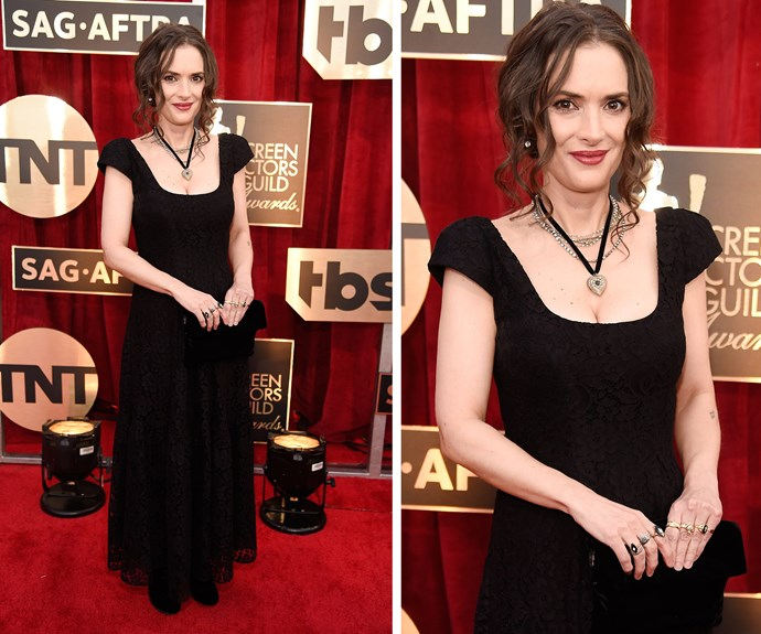 Winona Ryder is a '90s dream come true with her choker and capped-sleeved dress.