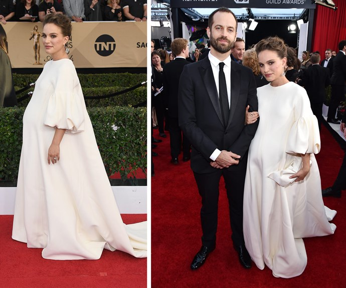 Pregnant *Jackie* star Natalie Portman wore a white Dior gown and Tiffany jewels.