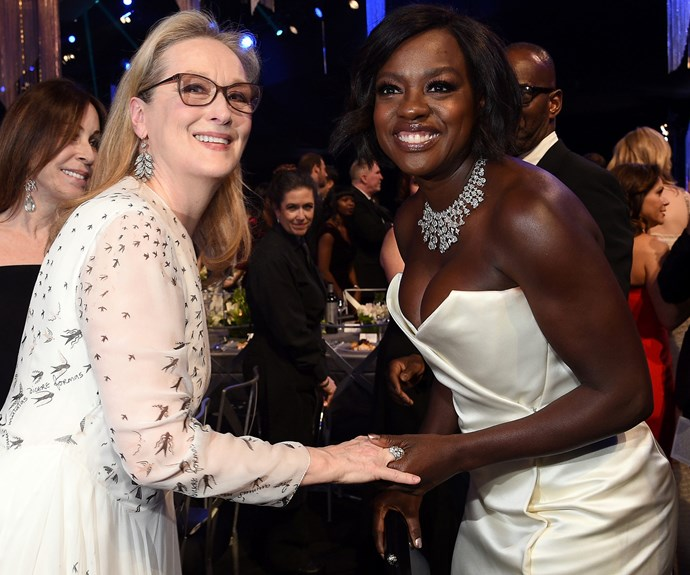 When two legends collide! Meryl Streep and Viola Davis share a sweet moment.