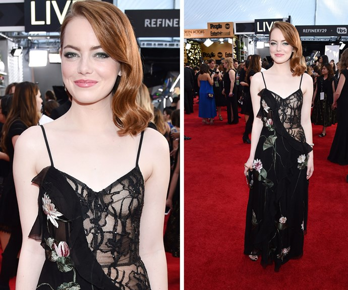Emma Stone is giving us boudoir glam.