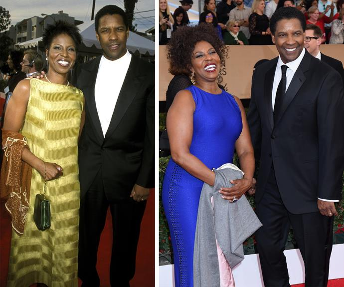It's such a special night for Best Actor winner Denzel Washington. On the left, Denzel and his wife Pauletta Washington at his first ever SAG Awards and the proud couple at this year's event.