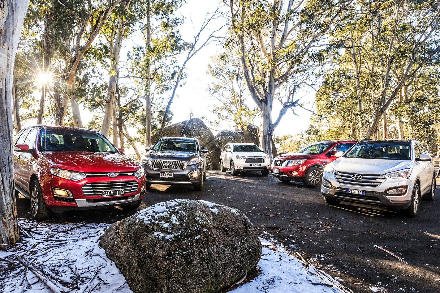 Ford Territory v Hyundai Santa Fe v Kia Sorento v Nissan Pathfinder