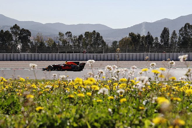F1 car driving