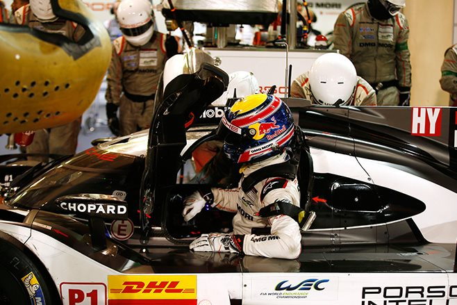 Mark Webber in Porsche race car