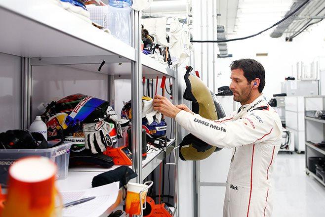 Mark Webber in Porsche garage