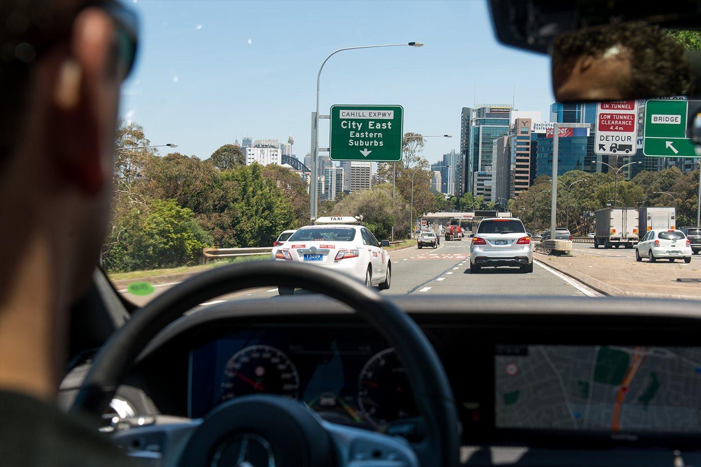 We ride shotgun in an autonomous Mercedes S-class at 110kp/h