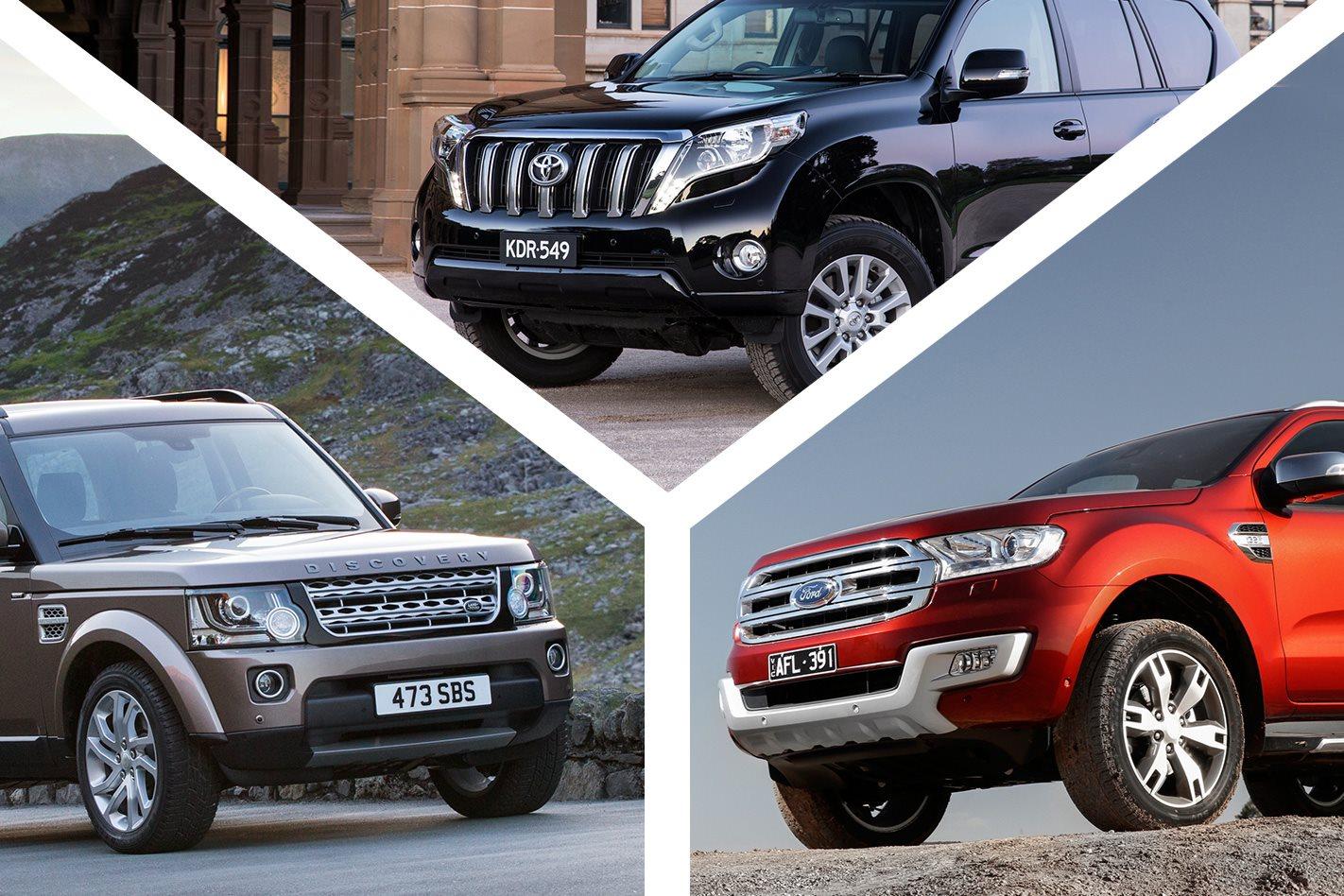 2016 toyota landcruiser prado vs land rover discovery vs ford everest review