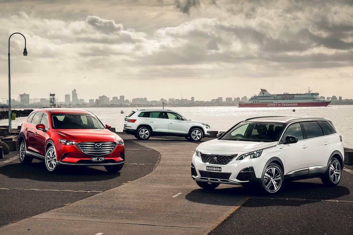 Mazda cx 9 v skoda kodiaq v peugeot 5008 comparison review for Garage mitsubishi paris