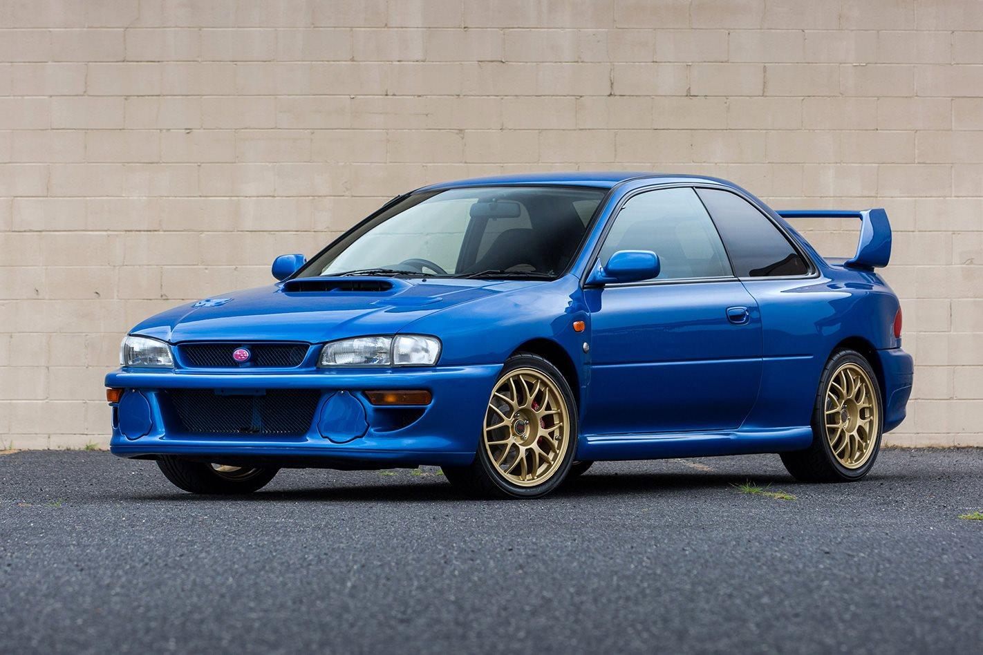 Retro 1998 Subaru Impreza Wrx Sti 22b Blue With White Rims