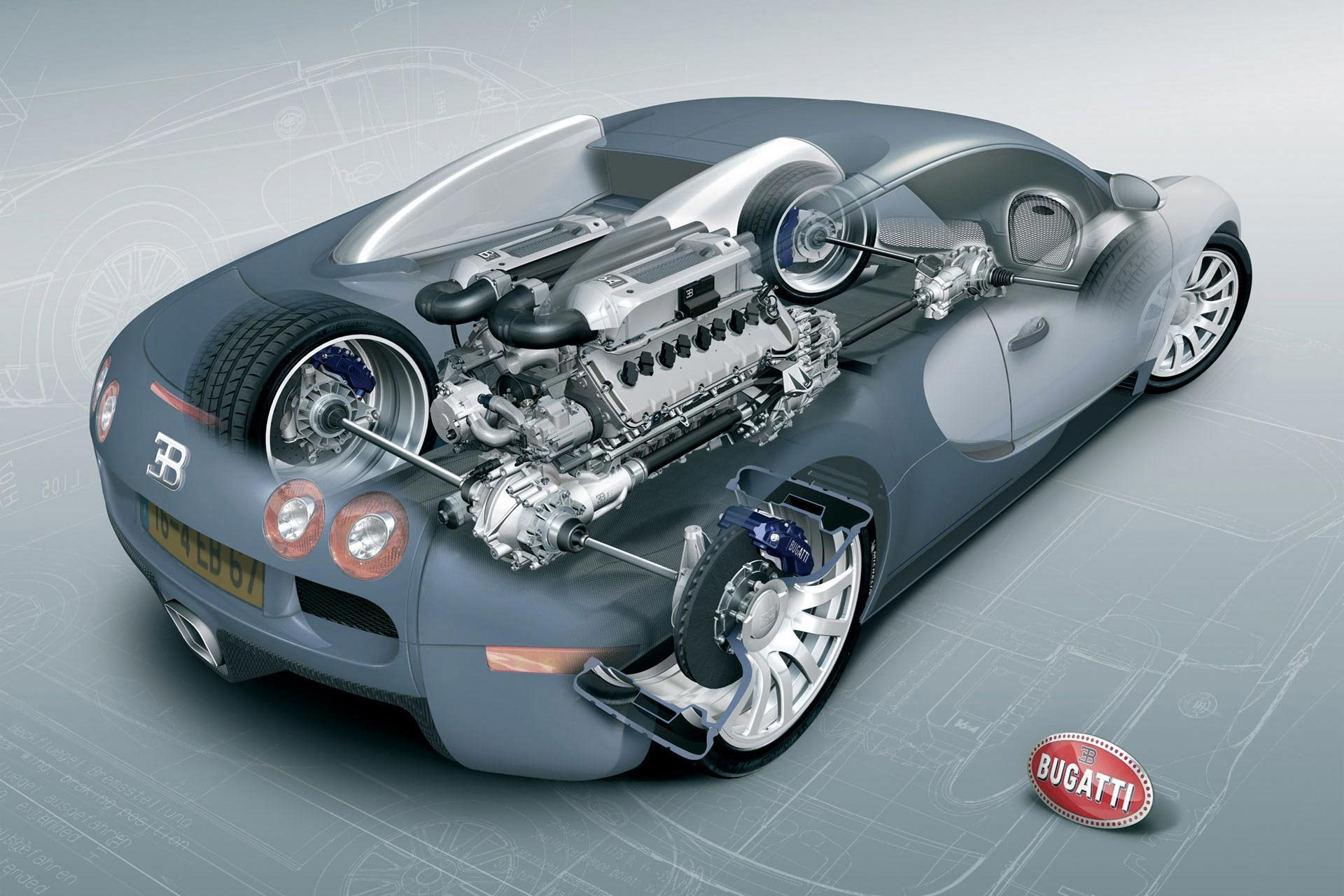 What type of engine does a bugatti veyron have