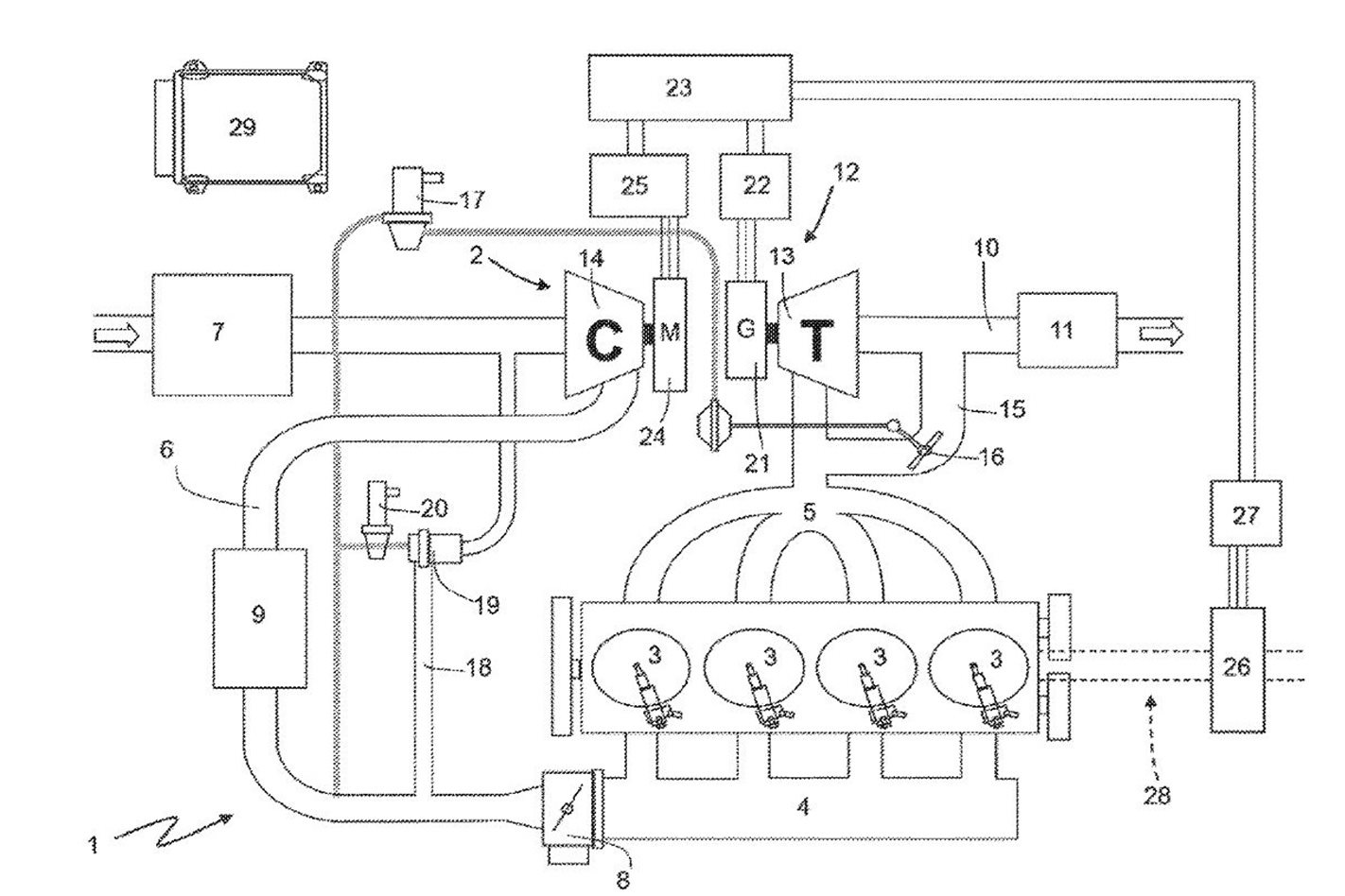 Ferrari Formula 1 Engine Diagram Patents Electric Turbo The Forced Induction Of Future Ever Since Their Invention Turbochargers Have Adhered To A Basic Compressor Wheel On One Side Cold Stuffs Fresh Air Into