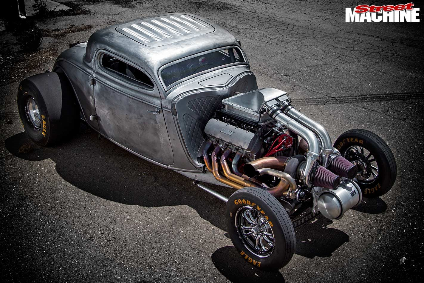 Chopped Twin Turbo 1934 Ford Three Window Coupe