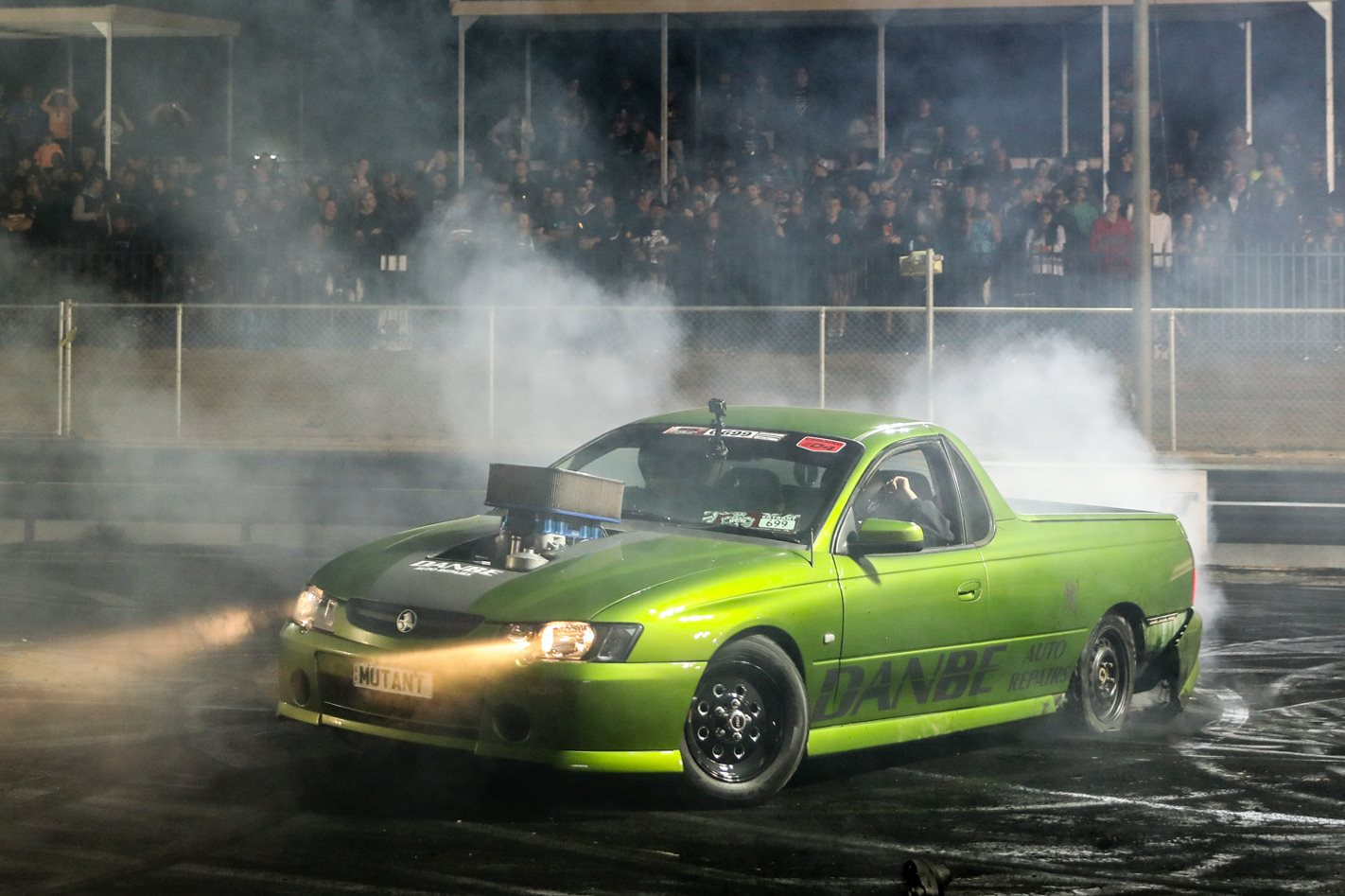 My Kia Performance >> 410ci sprint car engined VY Ute burnout car - Video