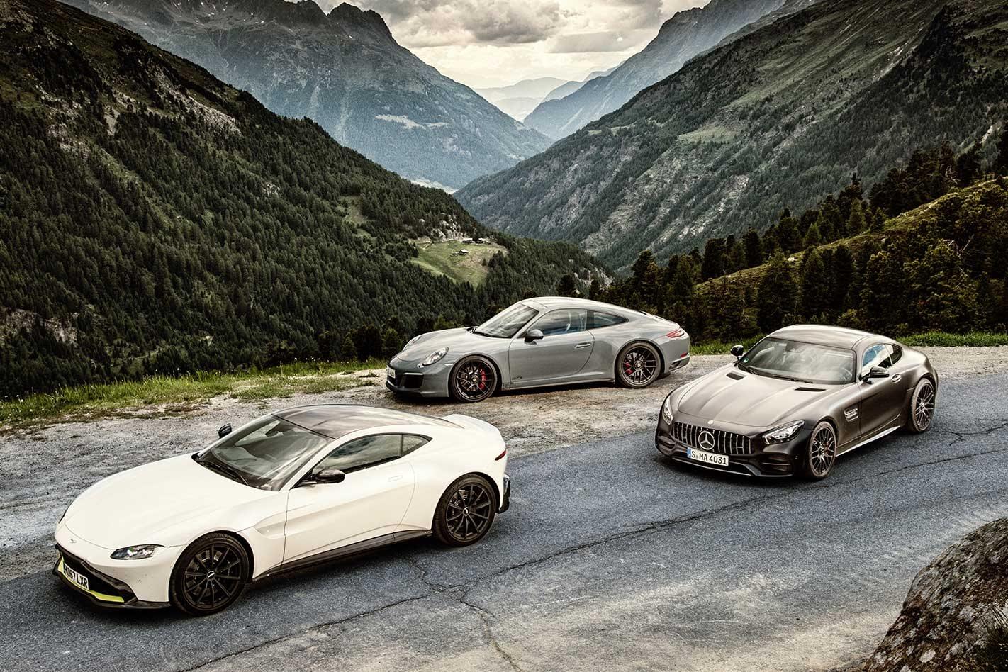 Aston Martin Vantage Vs Porsche Carrera GTS Vs Mercedes - Aston martin vantage gt 2018
