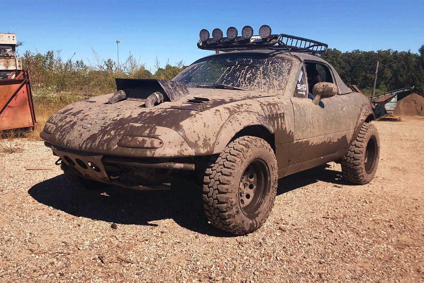Mazda NA MX-5 lifted and supercharged for rally fun