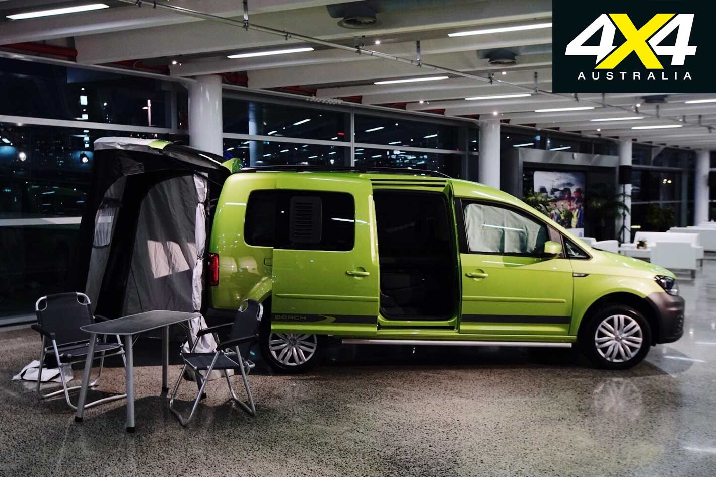 vw caddy beach campervan displayed at 2018 melbourne. Black Bedroom Furniture Sets. Home Design Ideas