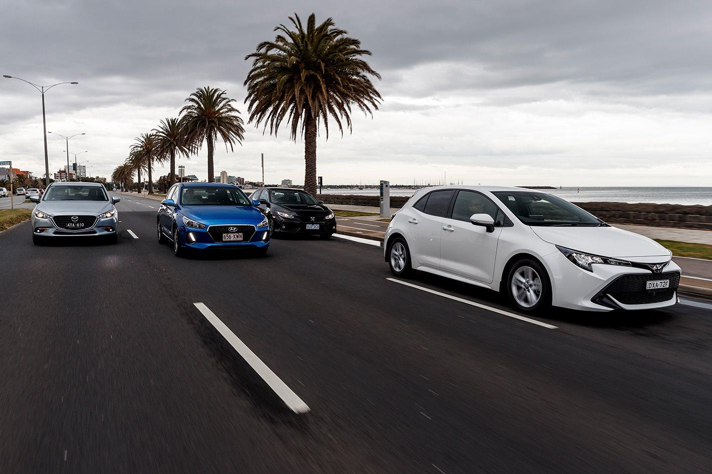 Toyota Corolla vs Hyundai i30 vs Mazda 3 vs Honda Civic comparison