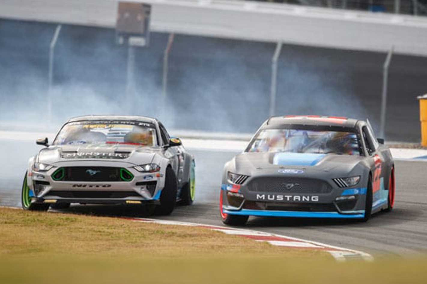 Watch fords mustang nascar and mustang rtr tandem drifting
