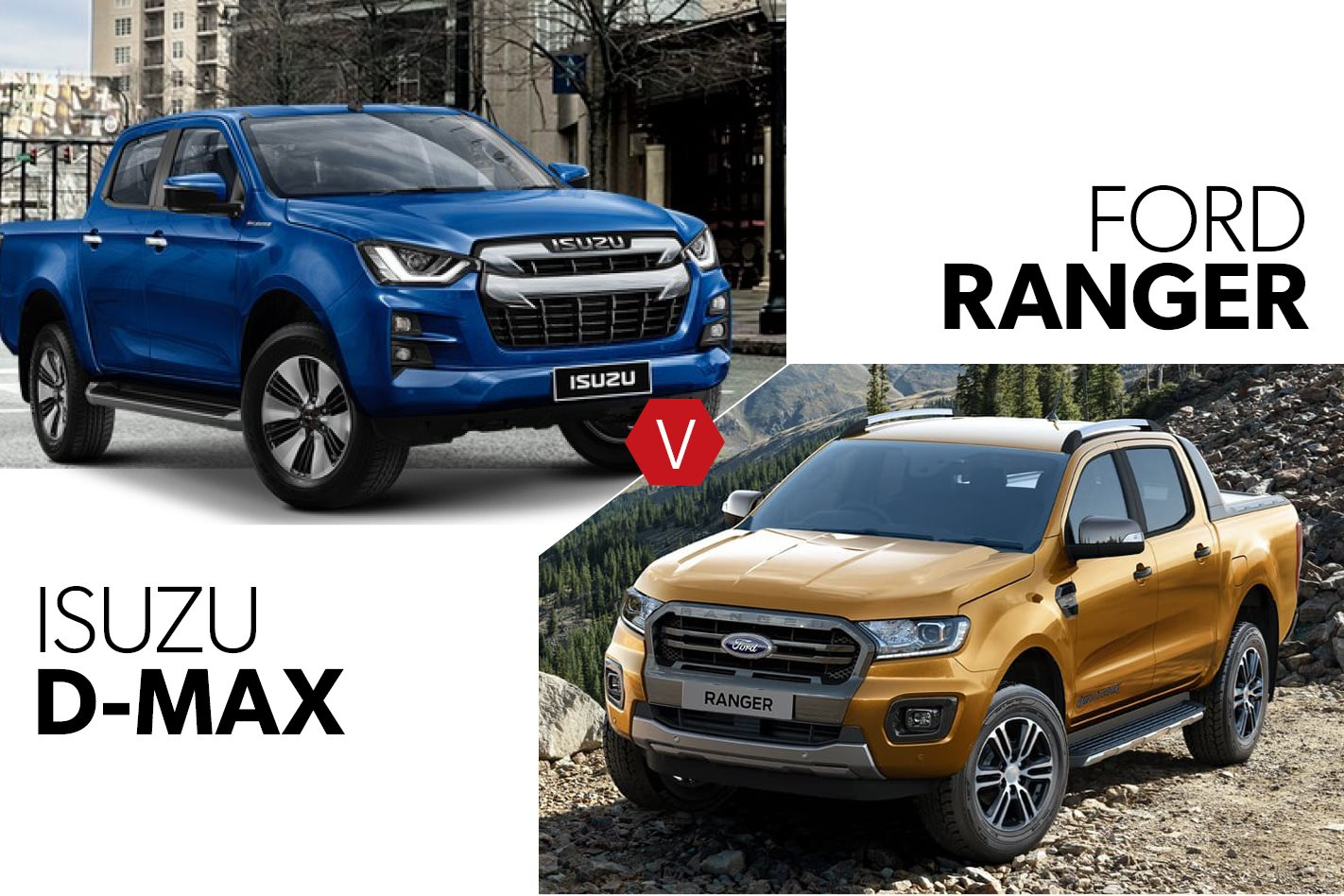 2020 Isuzu D-Max vs 2020 Ford Ranger on paper