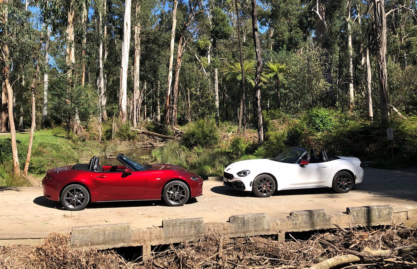 Mazda MX-5 Roadster GT v Abarth 124 Spider comparison