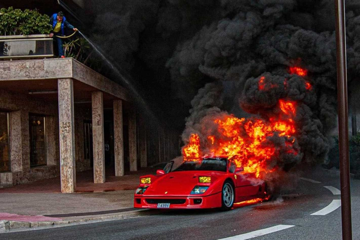 Video captures a Ferrari F40 burning down in Monaco