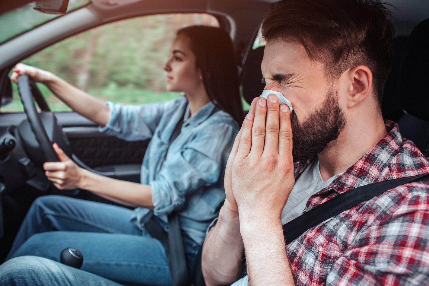 sneezing in car