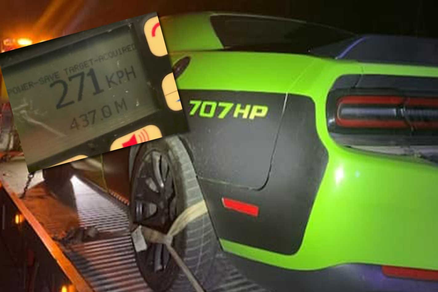 Dodge Challenger Hellcat Blows Tyre At 271km H Near Police