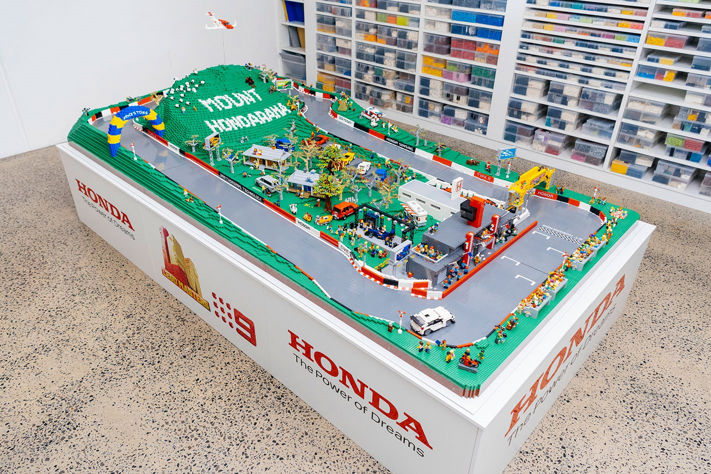 Honda and Brickman build Lego model of Bathurst circuit