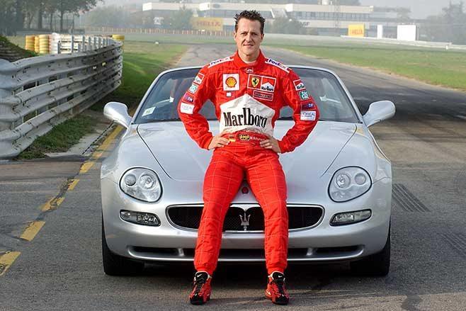 Michael Schumacher sitting on Maserati Spyder at Fiorano.