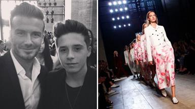 David and Brooklyn Beckham cheer on mum Victoria at NYFW