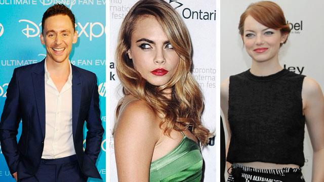 Tom Hiddleston, Cara Delevingne, Emma Stone