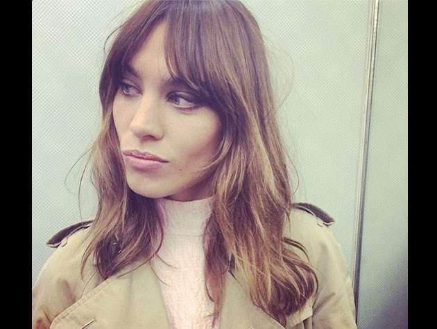 'It' girl Alexa Chung pairs her longer bob with a soft centre-parted fringe.