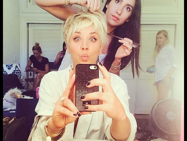 Kaley Cuoco-Sweeting's platinum blonde pixie cut is for a movie role, but we think it'll make for an interesting storyline on *The Big Bang Theory* too.