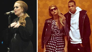 Beyonce and Jay Z catch up with Adele in London