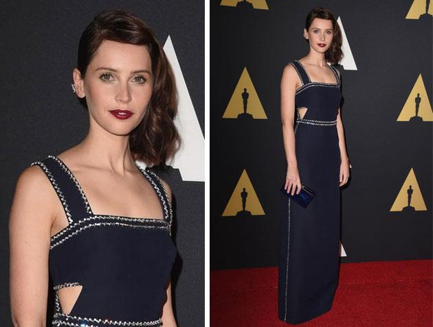 *The Theory of Everything* star Felicity Jones looks lovely in this Prada gown. Image: Twitter