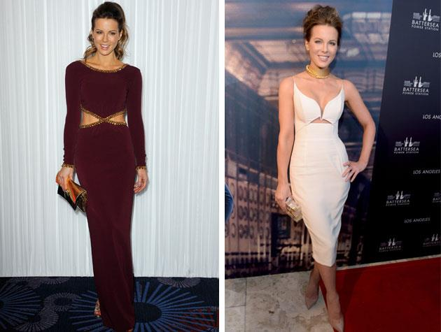 Kate Beckinsale shows off her trim and toned figure in a white cut-out dress at the Battersea Power Station event in LA. Image: Getty