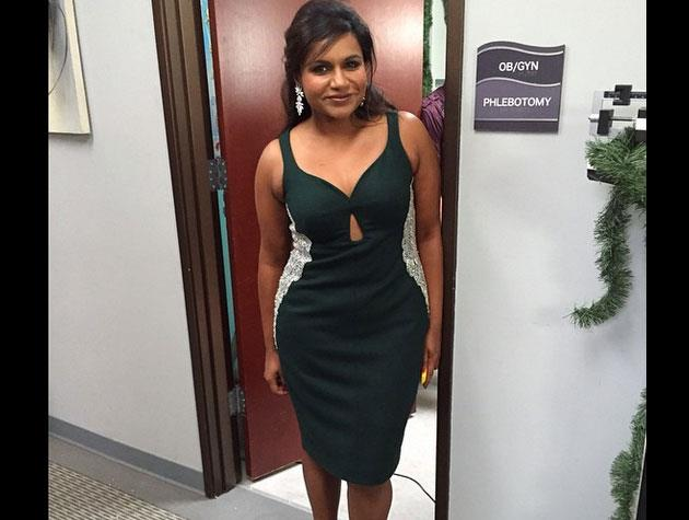 Writer and actress Mindy Kaling looks flawless in a dress from Salvador Perez. Image: Instagram