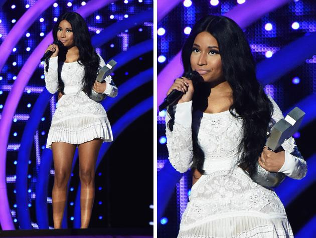 This beautiful dress was one of several costume changes Nicki Minaj went through as she hosted the 2014 EMAs this year. Image: Getty