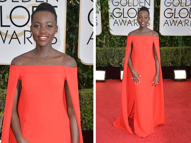 Lupita Nyong'o left her mark in this stunning red dress from Ralph Lauren. Image: Getty