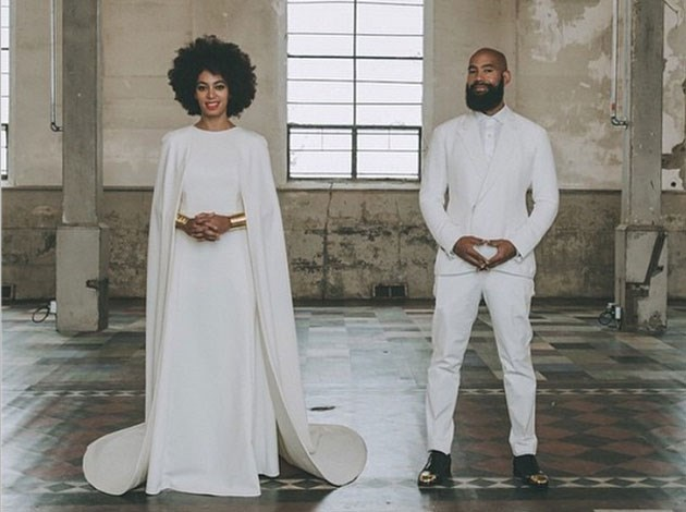 Solange Knowles got married in not one, but two caped outfits! Image: Instagram