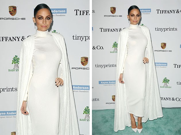 The ever-stylish Nicole Richie models her own take on the caped trend. Image: Getty