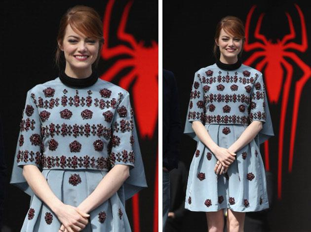 Emma Stone went with a quirky Erdem dress for a movie premiere. Image: Getty