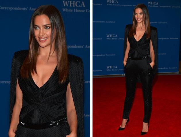 Model Irina Shayk looks stunning in this Versace number. Image: Twitter