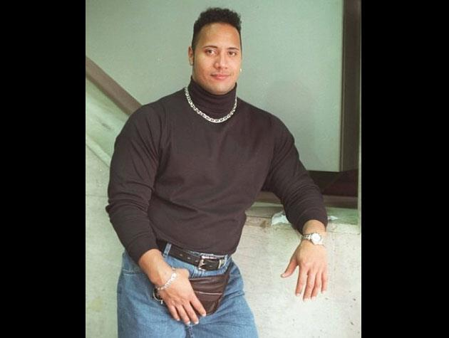 Dwayne 'The Rock' Johnson was brave enough to share this terrific photo of himself, complete with turtleneck sweater, chain and bum bag.